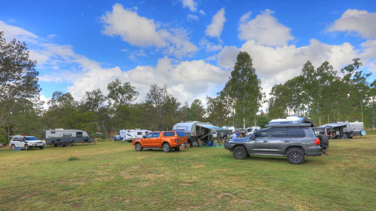 Cars and campers on camping ground