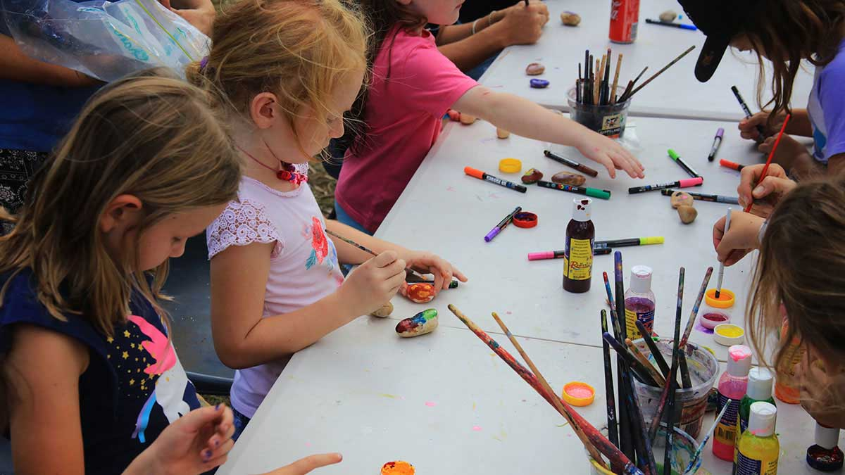Kids doing arts and crafts activity