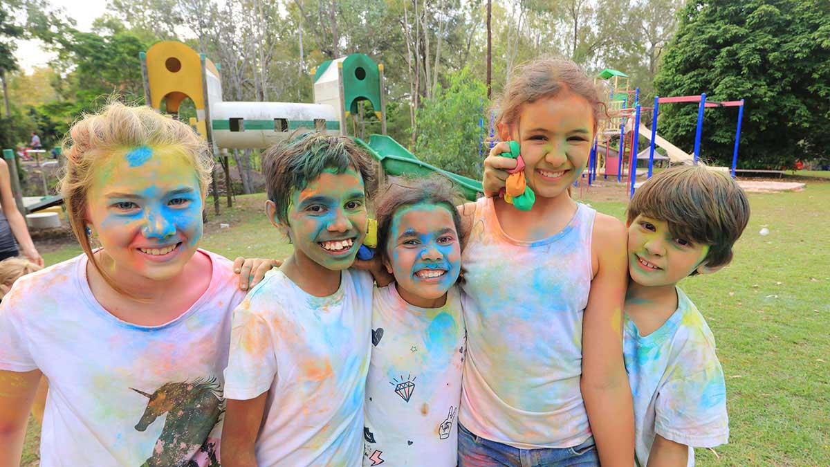 Closeup of some kids after the Colour Run