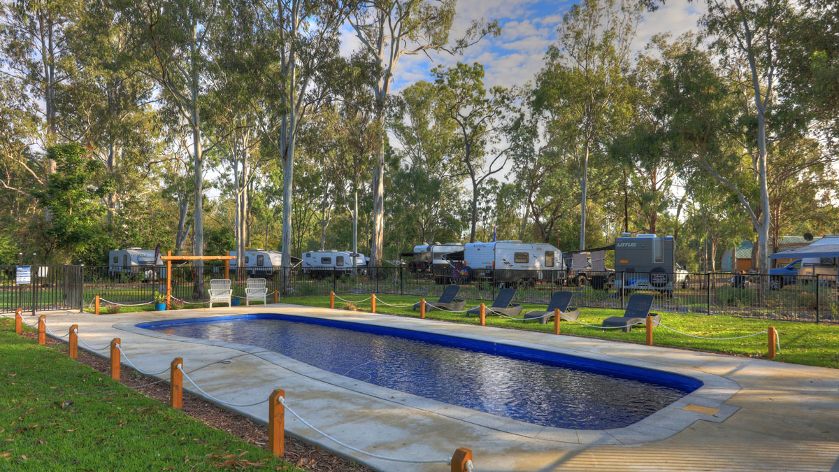 Kilkivan Bush Camping pool area open for guests to relax