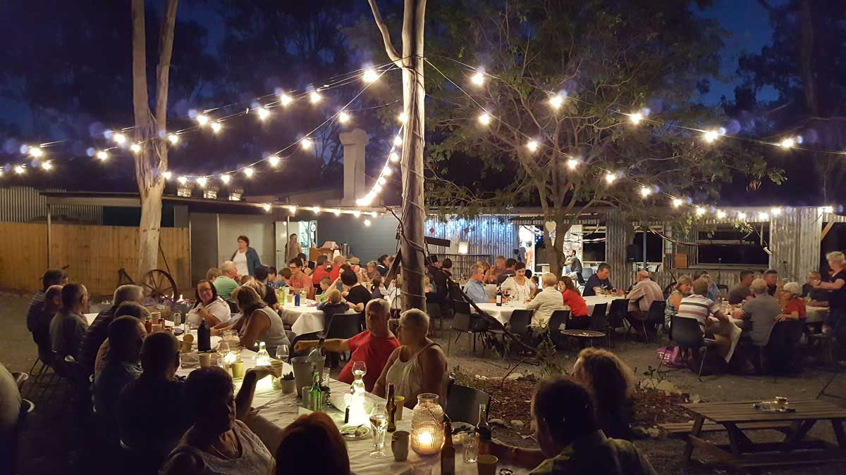 Kilkivan Bush Camping outdoor dining facilities offer a great dinner vibe for guests
