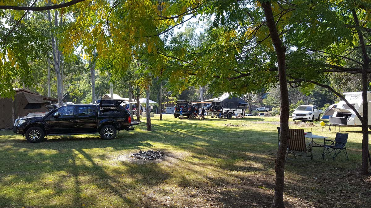 Large group of campers set up