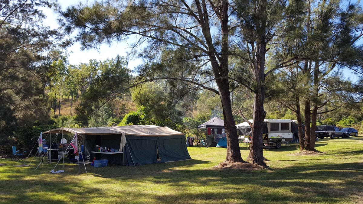 Large family tent set up
