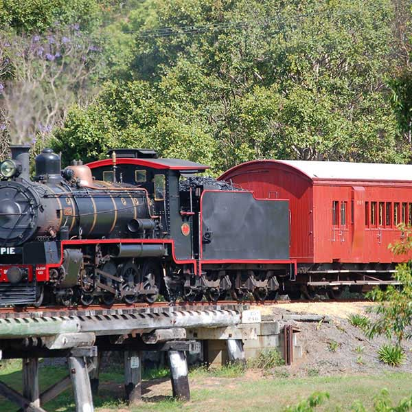 Red and Black Mary Valley Rattler Train