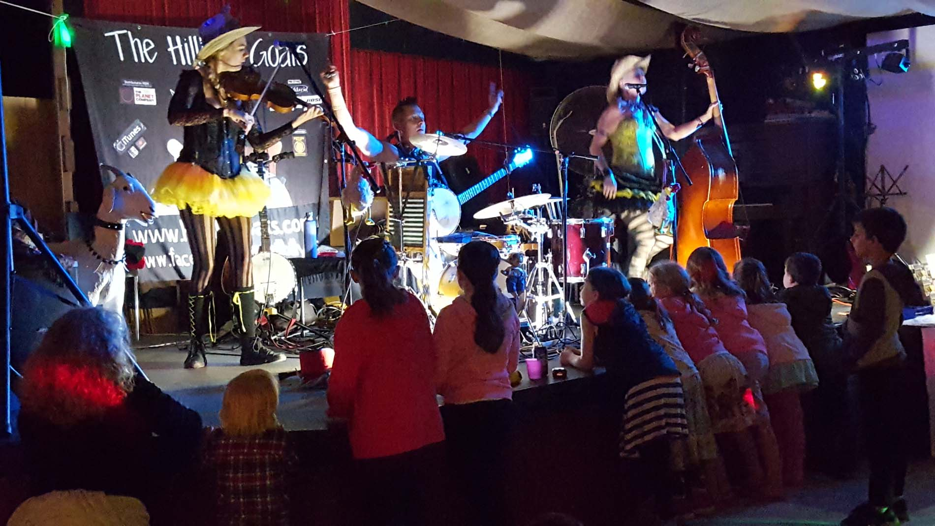 The Hillbilly Goats band performing on stage