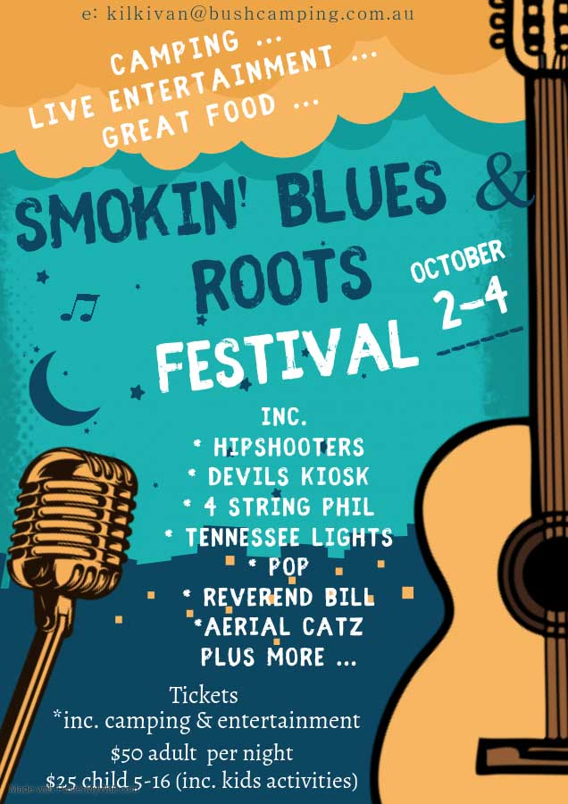 Smokin Blues and Roots festival is a family friendly music event at Kilkivan Bush Camping